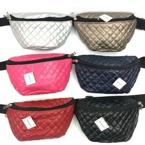 Quilted Faux Pebbled Leather Fanny Pack
